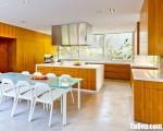 Tủ bếp gỗ Laminate màu vân gỗ thiết kế hiện đại – TBT3765