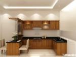 Tủ bếp gỗ Tần Bì chữ L sơn PU kết hợp quầy Bar sang trọng, tinh tế – TBB4314