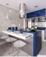 Tủ bếp Laminate chữ I kết hợp bàn đảo phong cách Châu Âu – TBB4273