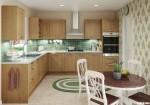 Tủ bếp gỗ Sồi Mỹ chữ L sơn PU mang lại vẻ ấm cúng cho không gian bếp – TBB4362