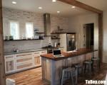 Tủ bếp gỗ Sồi chữ I đơn giản có bàn đảo – TBT3205