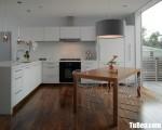 Tủ bếp gỗ Acrylic chữ L màu trắng thiết kế hiện đại – TBT3214