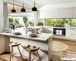 Tủ bếp gỗ Acrylic màu trắng chữ Utiện dụng – TBT32198
