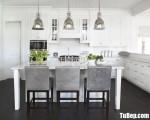 Tủ bếp gỗ Căm Xe màu trắng sơn men chữ L – TBT3262
