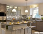 Tủ bếp gỗ Acrylic chữ L có bàn đảo tiện dụng – TBT3230
