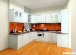 Tủ bếp gỗ Sồi Nga chữ U sơn men trắng – TBB4445
