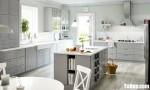 Tủ bếp gỗ Xoan Đào thiết kế màu ghi trang nhã – TBT3281