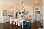 Tủ bếp gỗ Sồi Nga chữ L sơn men trắng sang trọng với thiết kế tinh tế hiện đại – TBB4430