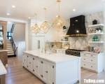 Tủ bếp gỗ Căm Xe màu trắng sơn men chữ L – TBT3268