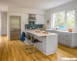 Tủ bếp gỗ Laminate màu trắng thiết kế hiện đại – TBT3298