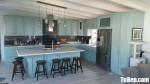 Tủ bếp gỗ Sồi Nga chữ L sơn men xanh + bàn đảo độc đáo – TBB4508