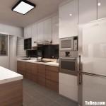 Tủ bếp MDF xanh kháng ẩm mặt phủ Acrylic trắng phối Laminate vân gỗ + bàn đảo – TBB4496