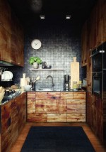 Tủ bếp với tông màu gỗ mộc mạc dành cho không gian bếp nhỏ