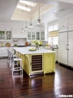 Tủ bếp gỗ Xoan Đào chữ L sơn men trắng + bàn đảo thiết kế sang trọng, hiện đại – TBB4537