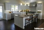Tủ bếp gỗ Xoan Đào chữ L sơn men trắng + bàn đảo phong cách bán cổ điển Châu Âu – TBB4567
