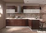 Tủ bếp Laminate chữ L vân gỗ đậm hiện đại – TBB4525