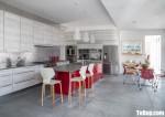 Tủ bếp gỗ Laminate thiết kế hiện đại màu vân gỗ – TBT3451