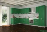 Tủ bếp gỗ MDF xanh kháng ẩm chữ L sơn men xanh – TBB4610