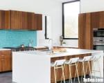 Tủ bếp gỗ Laminate chữ L màu vân gỗ có bàn đảo tiện dụng – TBT3418