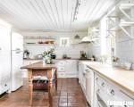 Tủ bếp chữ L chất liệu Sồi Mỹ sơn men trắng kết hợp bàn đảo – TBN8116