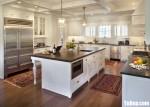 Tủ bếp gỗ Xoan Đào màu trắng sơn men chữ U – TBT3440