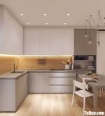 Tủ bếp chất liệu melamine kết hợp bàn đảo – TBN8069
