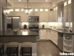 Tủ bếp gỗ Sồi Nga chữ L sơn men trắng + bàn đảo phong cách Châu Âu – TBB4589