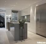 Tủ bếp Acrylic bóng gương chữ L + bàn đảo dài – TBB4587
