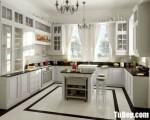 Tủ bếp gỗ Xoan Đào chữ U sơn men trắng sang trọng – TBB4684