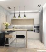 Tủ bếp chất liệu Acrylic bóng gương kết hợp bàn đảo – TBN8182