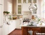 Tủ bếp gỗ Xoan Đào tự nhiên sơn men trắng chữ L phong cách bán cổ điển – TBB4676