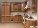Tủ bếp gỗ tự nhiên Giáng Hương sơn PU chữ L phong cách cổ điển – TBB4649