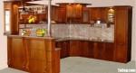 Tủ bếp gỗ tự nhiên Giáng Hương sơn PU chữ L + quầy bar sang trọng – TBB4694