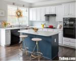 Tủ bếp chữ L chất liệu Sồi sơn men trắng kết hợp bàn đảo – TBN8173