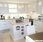 Tủ bếp chữ L chất liệu gỗ tự nhiên kết hợp bàn đảo tiện lợi – TBN8171