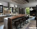 Tủ bếpLaminate vân gia gỗ màu vàng sáng đẹp nhất – TBN8130