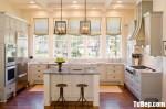 Tủ bếp gỗ Xoan Đào chữ U sơn men trắng sang trọng – TBB4702