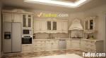 Tủ bếp gỗ Sồi tự nhiên sơn men trắng kiểu dáng chữ L phong cách tân cổ điển sang trọng – TBB4696