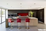Tủ bếp gỗ Acylic chữ L màu xám kết hợp màu trắng – TBT3615