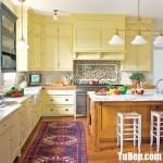 Tủ bếp gỗ Tần Bì sơn men chữ L + bàn đảo phong cách Châu Âu – TBB4746
