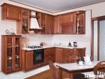 Tủ bếp gỗ tự nhiên Giáng Hương sơn PU chữ L cổ điển – TBB4725