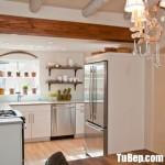 Tủ bếp gỗ Acylic chữ L màu trắng hiện đại  – TBT3622