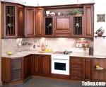 Tủ bếp gỗ tự nhiên Giáng Hương sơn PU chữ L – TBB4715