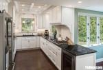 Tủ bếp gỗ Căm Xe màu trắng thiết kế chữ U – TBT3705