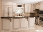 Tủ bếp gỗ Căm Xe màu trắng sơn men chữ L – TBT3719