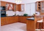 Tủ bếp gỗ tự nhiên Giáng Hương sơn PU chữ U cổ điển sang trọng – TBB4783