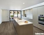 Tủ bếp gỗ Laminate màu ghi chữ I tiện dụng – TBT3748