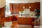 Tủ bếp Laminate vân gỗ đậm chữ L phong cách hiện đại – TBB4830