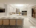 Tủ bếp gỗ Acrylic màu trắng có bàn đảo tiện dụng – TBT3734