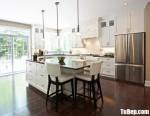 Tủ bếp gỗ Sồi tự nhiên chữ L sơn men trắng kết hợp bàn đảo dài phong cách Châu Âu – TBB4808